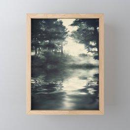 Misty pine forest Framed Mini Art Print
