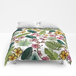 Botanical joy on white Comforters