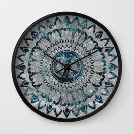 Egyptian Scarab Beetle Silver and Abalone Wall Clock