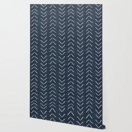 Mud Cloth Big Arrows in Navy Wallpaper