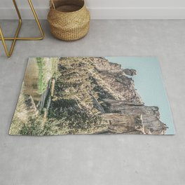 Vintage Smith Rock State Park // River and Rocks Scenic Hiking Landscape Photograph Rug