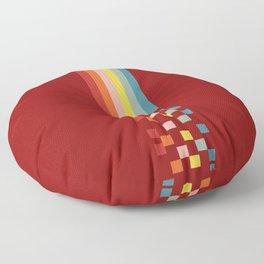 Classic Colorful Retro Rainbow Stripes Pixel Drops - Aikichi Floor Pillow