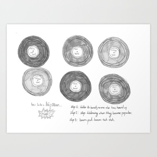 Hipsters Listen To Music Art Print