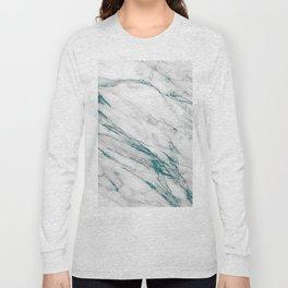 Gray Marble Aqua Teal Metallic Glitter Foil Style Long Sleeve T-shirt