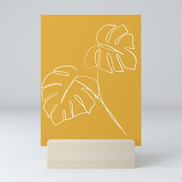 Monstera minimal - yellow Mini Art Print