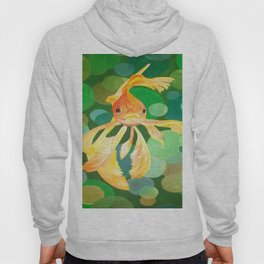 Vermilion Goldfish Swimming In Green Sea of Bubbles Hoody