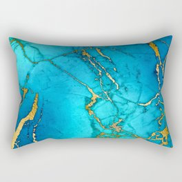 Gold And Teal Blue Indigo Malachite Marble Rectangular Pillow