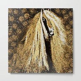 Horse Mosaic Brown Friesian Metal Print