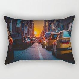New York City Taxi Sunset (Color) Rectangular Pillow