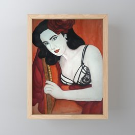 Dita in Red, A Portrait of a Great Icon Framed Mini Art Print
