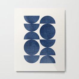 Blue navy retro scandinavian Mid century modern Metal Print