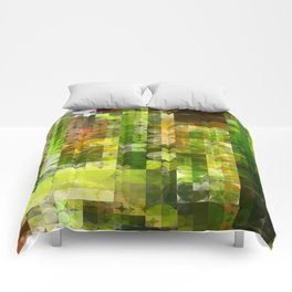 Cactus Garden Abstract Circle Sections 2 Comforters