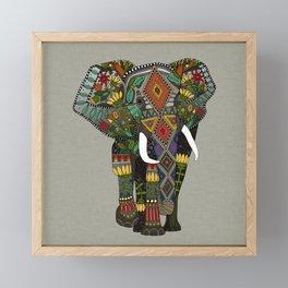 floral elephant stone Framed Mini Art Print
