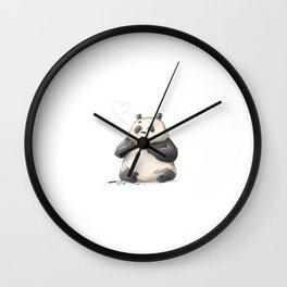 Panda Loves Coffee Wall Clock