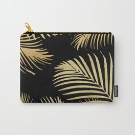 Gold Palm Leaves on Black Carry-All Pouch