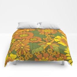 Orange, Brown, Yellow and Green Retro Daisy Pattern Comforters