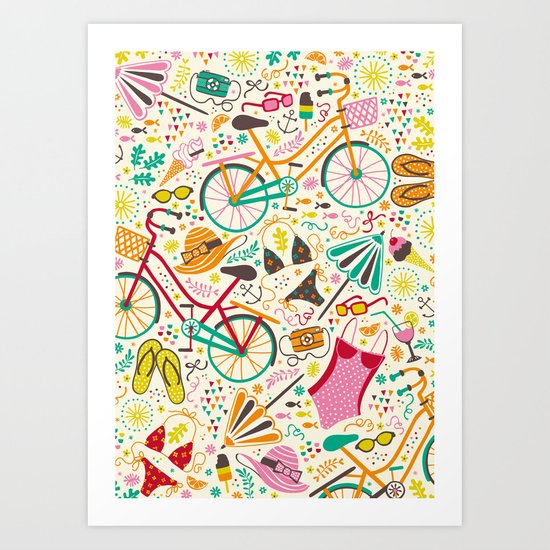 Seaside Cycle Art Print