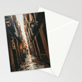 Barcelona Alley | Tilted Alleyway Streets in the City High Buildings Charming Moody Architecture  Stationery Cards