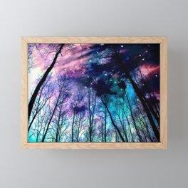 Black Trees Colorful SpacE Framed Mini Art Print