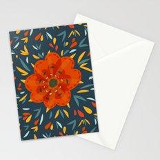 Decorative Whimsical Orange Flower Stationery Cards