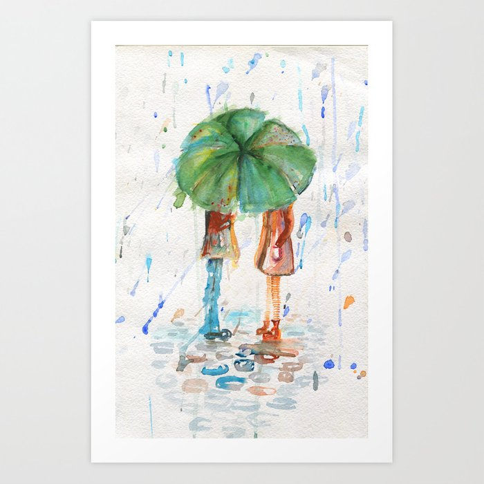 Sunday's Society6 | Watercolor art print, couple under green umbrella in the rain