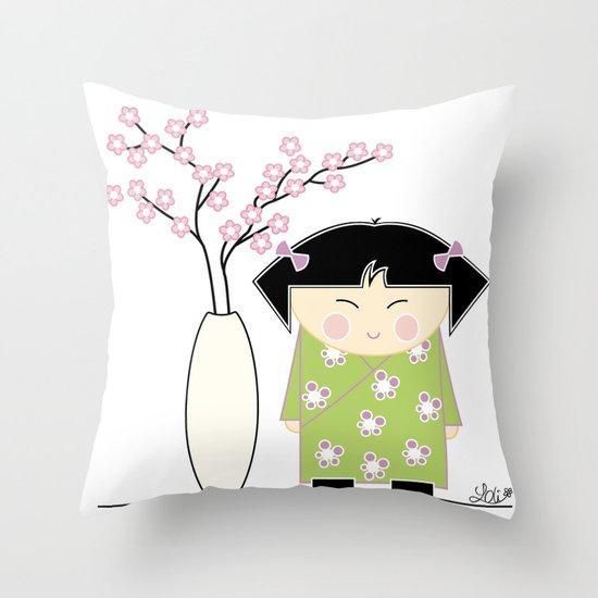 Little Asian Girl Throw Pillow