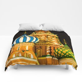 Domes of St. Basil's Cathedral on red square Comforters