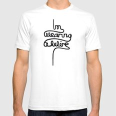 wearing a wire Mens Fitted Tee SMALL White