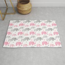 Pink Gray Elephant Baby Girl Nursery Rug