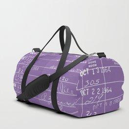 Library Card 23322 Negative Purple Duffle Bag