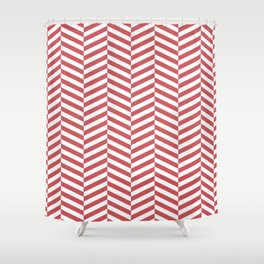 Classic Red Chevron Shower Curtain