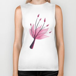 Pink Abstract Water Lily Flower Biker Tank