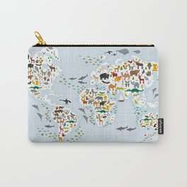 Cartoon animal world map for children and kids, Animals from all over the world, back to school Carry-All Pouch