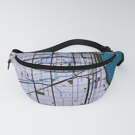 Chicago Street Map // Blue Theme Fanny Pack