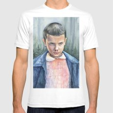 Stranger Things Eleven Art Watercolor Portrait White Mens Fitted Tee X-LARGE
