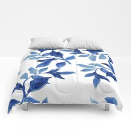 Indigo Leaves Watercolour painting Comforters