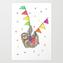 Sloth with Bunting #3 Art Print
