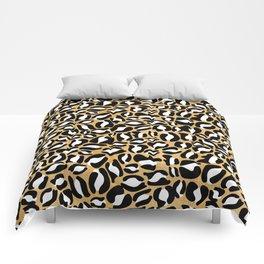 Gold Leopard Print   Cheetah texture pattern Comforters