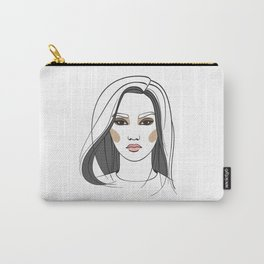 Asian woman with long hair. Abstract face. Fashion illustration Carry-All Pouch