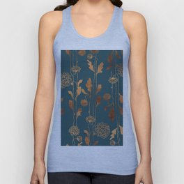 Art Deco Copper Flowers Unisex Tank Top