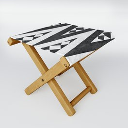 Tribal pattern in black and white. Folding Stool