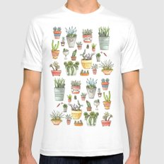 Potted Succulents Mens Fitted Tee White MEDIUM