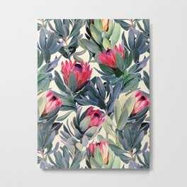 Painted Protea Pattern Metal Print