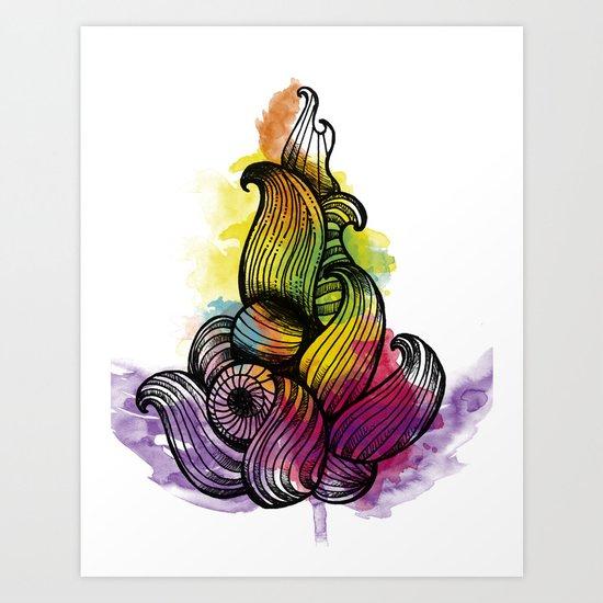 Watercolor Fire Art Print