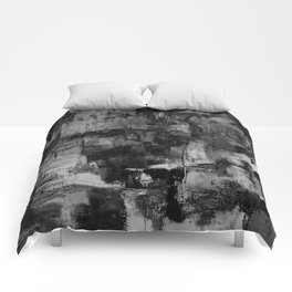 Crackled Gray - Black, white and gray, grey textured abstract Comforters