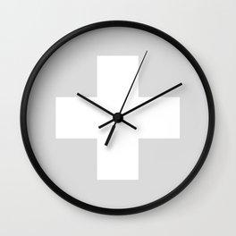 Swiss Cross Silver Wall Clock