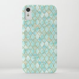 Luxury Aqua and Gold oriental pattern iPhone Case