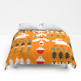 Sweet Christmas bunnies Comforters
