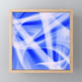 A flowing pattern of smooth blue lines on a brocade veil with transparent luminous transitions. Framed Mini Art Print