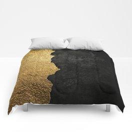 Gold torn & black grunge Comforters